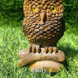 0.59LB Natural tiger eye stone owl hand carved quartz crystal specimen healing