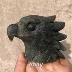 0.96LB Natural Labradorite eagle crystal skull hand carved Healing KD3325-YH