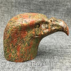 1.05LB Natural unakite quartz eagle skull hand Carved crystal healing OK803