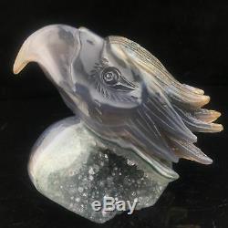 1.32LB Natural Geode Agate quartz eagle skull hand Carved crystal MK400-6