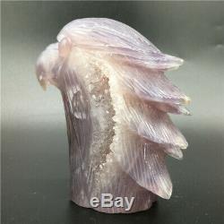 1.34LB Natural Agate geode quartz eagle skull Hand Carved point Crystal MDK325