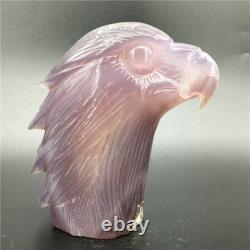 1.34LB Natural Geode Agate eagle skull quartz hand Carved crystal