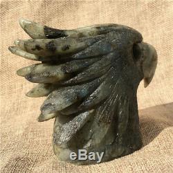 1.38LB Natural Labradorite eagle skull crystal spectrolite hand carved OK2198-wh