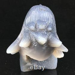 1.3LB Natural Geode Agate quartz eagle skull hand Carved crystal MK361-DEA-1