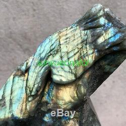 1.51KG Natural Labradorite eagle snake Hand Carved Crystal Healing OK593-SWB