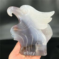 1.51LB Natural Agate geode quartz eagle skull Cluster Hand Carved Crystal DK2180