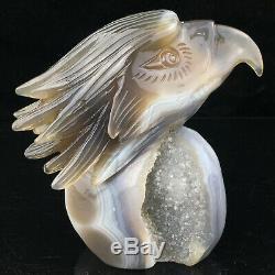 1.61LB Natural Agate geode point quartz eagle skull Hand Carved Crystal mk394