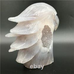 1.65LB Natural Geode Agate eagle skull quartz hand Carved crystal DK298