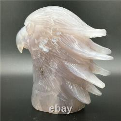 1.65LB Natural Geode Agate eagle skull quartz hand Carved crystal DK298-EAA-1