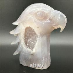 1.65LB Natural Geode Agate eagle skull quartz hand Carved crystal DK298-EAA-4