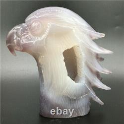1.76LB Natural Geode Agate eagle skull quartz hand Carved crystal DK318-EAA-1