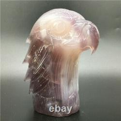 1.76LB Natural Geode Agate eagle skull quartz hand Carved crystal DK318-EAA-4