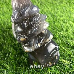 1.84LB Natural Geode Agate quartz crystal eagle skull hand Carved healing
