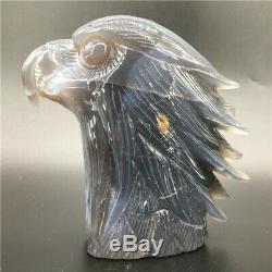 1.91LB Natural Geode Agate eagle skull quartz hand Carved crystal DK300-EAA-4