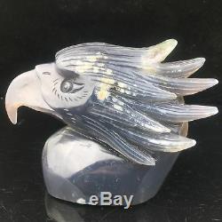 1.91LB Natural Geode Agate quartz eagle skull hand Carved crystal MK405