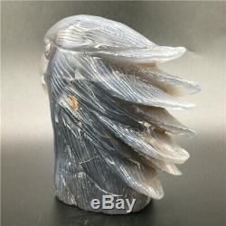 1.91LB Natural Geode Agate quartz eagle skull hand Carved crystal healing DK300