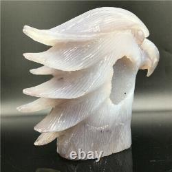 1.93LB Hand Carved crystal sskull Natural Geode Agate eagle skull quartz DK294