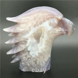 1.95LB Natural Geode Agate eagle skull quartz hand Carved crystal DK308-EAA-4