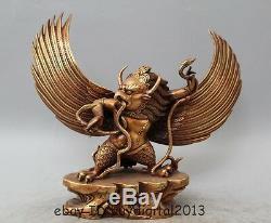10 Tibet Buddhism Bronze Gild Redpoll Winged Garuda Bird Eagle Buddha Statue