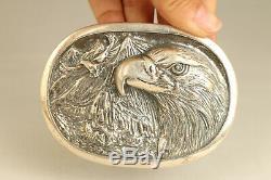 100% fine 925 Silver Hand Carved eagle Statue Netsuke belt fastener noble gift