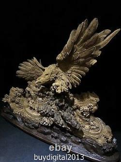103 CM Indonesia Agarwood Chinese tiercel eagle hawk Great Wall Pine Tree Statue