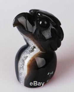 1049g Natural Geode Agate Quartz Crystal Hand Carved Eagle Skull Carving 0084