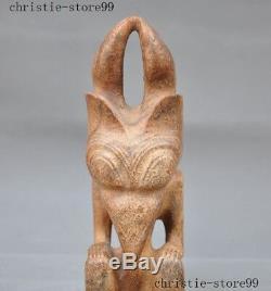 10Chinese Hongshan Culture Old Jade Hand Carved eagle bird head Sun god statue