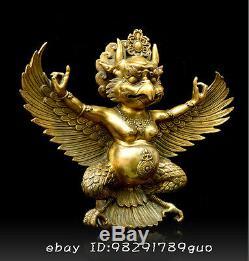 10Tibet Tibetan Buddhism Brass Redpoll Winged Garuda Bird Eagle Buddha Statue