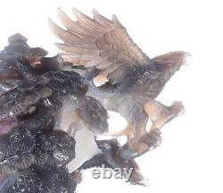 11.54Natural Geode Agate Eagle Carving, Hand-carved Crafts AS23