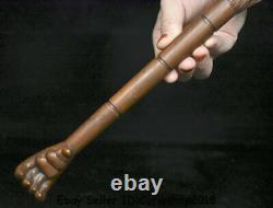 11.8 Old Chinese Boxwood Wood Carved Eagle Hawk Birds Head Hand paw claw talon