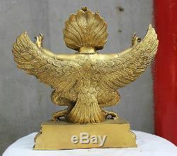 11 China Tibetan Buddhism Bronze Redpoll Winged Garuda Bird Eagle Buddha Statue