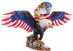 12 Hand carved Santa Claus EAGLE Handpainted Christmas wood figurine Ded Moroz