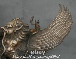 12 Old Tibet Bronze Silver Redpoll Winged Garuda Bird Eagle Buddha Statue