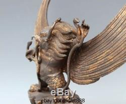 12 Tibetan Buddhism Bronze Gild Garuda Dhwaja Hawk Eagle Bird God Buddha Statue