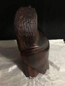 12Hand Carved Exotic Hardwood Bald Eagle Wood Wooden Bird of Prey Sculpture