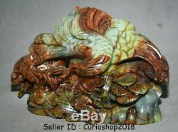 13.6 Old Chinese Natural Xiu Jade Jadeite Hand Carved eagle hawk Birds Statue