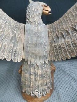 13 Pounds 48x28 Hand Carved Wood Eagle Sculpture Ukraine Rare Phoenix Sculpture