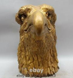 14 Chinese Fengshui Bronze Hawk eagle Head Bust king of birds Statue sculpture
