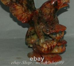 14 Old Chinese Natural Xiu Jade Jadeite Hand Carved eagle hawk Birds Statue