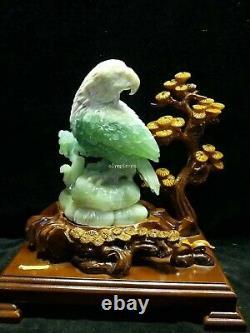 14'' china xiuyan jade hand-carved beautiful home decorate animal hawk eagle