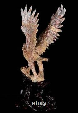 15.35Natural Crazy Lace Agate Eagle Carving, Handcarved Crafts AL82