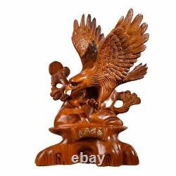 15.5 Chinese Hua Li Wood Hand Carved Da Zhan Hong Tu Eagle Statue Handmade