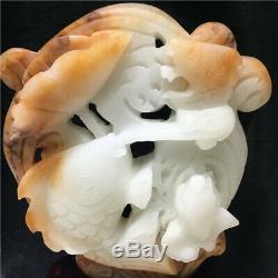 18.48LB Natural White jade quartz fish skull hand Carved crystal om266 -BCAA-1