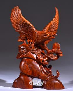 18 Chinese Fengshui 100% Natural Huanghuali Wood Hand Carved Eagle Art Statue
