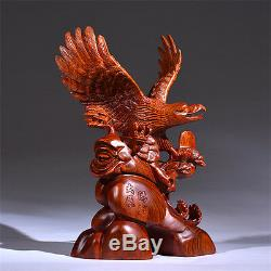 18 Chinese Fengshui 100% Natural Yellow Rosewood Hand Carved Eagle Art Statue