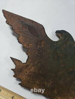 1800's Hand Carved Wooden Bald Eagle Patriotic Wall Mount Antique Plaque Carving