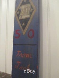 1950 Delta Kappa Epsilon Fraternity hand carved paddle Badge DKE eagle 26.5
