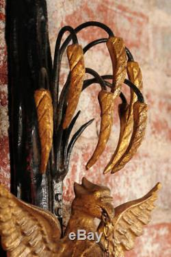 19th c. Hand Carved French Empire Eagle Wall sconces Candle holders-Pair