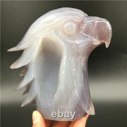 2.04LB Natural Geode Agate eagle skull quartz hand Carved crystal DK297
