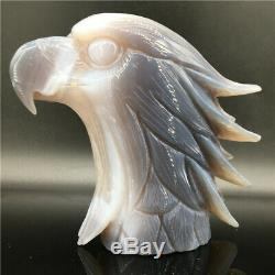 2.11LB Natural Geode Agate quartz eagle skull hand Carved crystal healing dk295